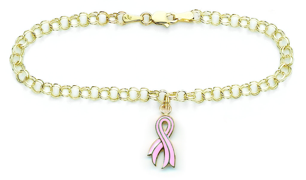 14K Gold Breast Cancer Awareness 7 Charm Bracelet 29300 Breast