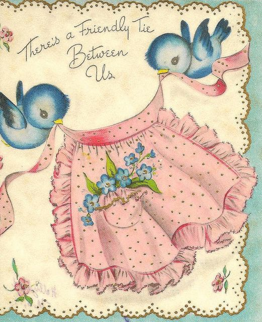 Apron birds vintage greeting cards apron and friendship m4hsunfo Image collections