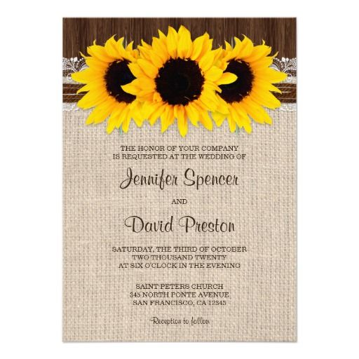 A Rustic Wedding Invitation Featuring A Burlap And Lace Design With - Sunflower wedding invitations templates