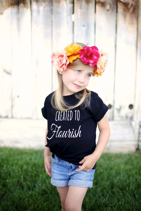 Perfect for our theme this year!  Created to Flourish BLACK toddler t shirt, MOPS, A Fierce Flourishing