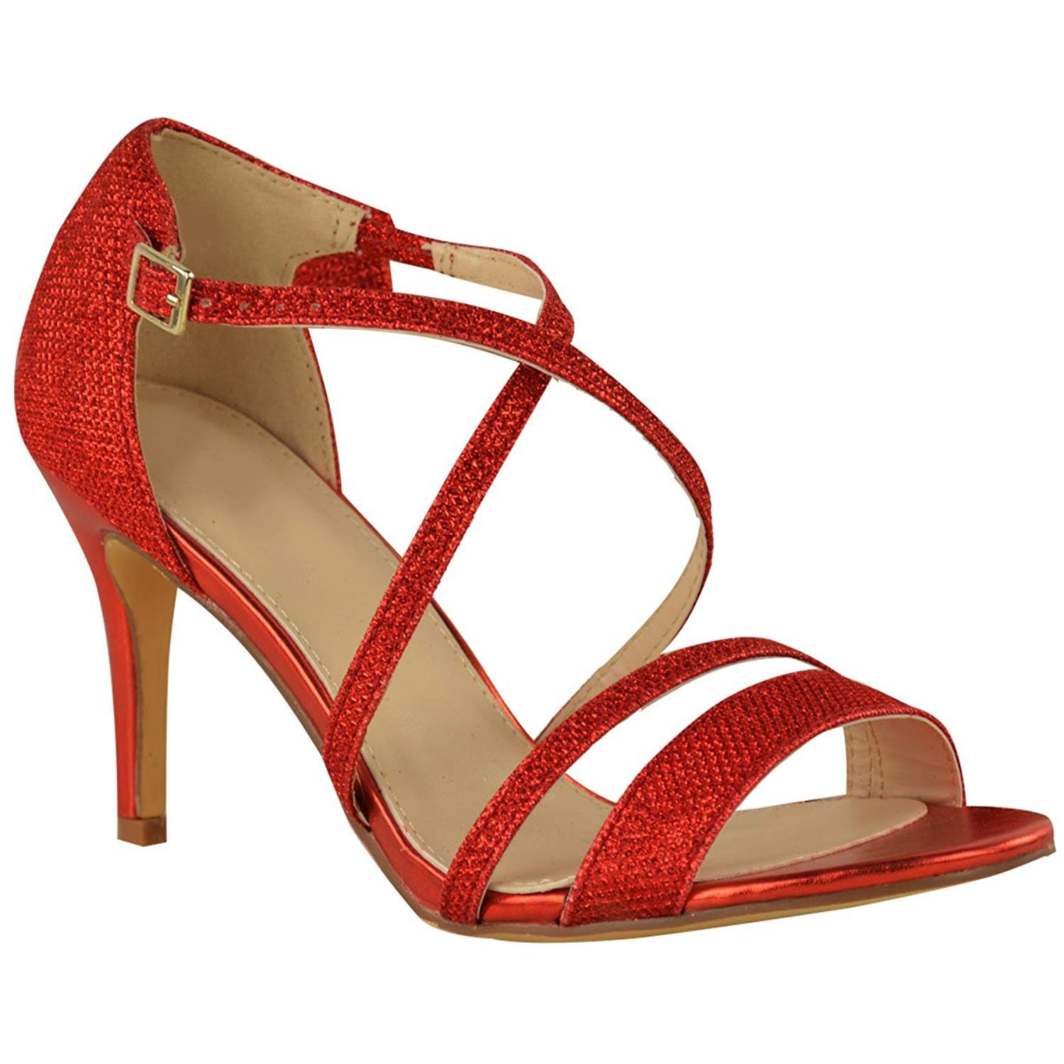 29ac3f7b129 Fashion Thirsty Womens Low Kitten Heel Strappy Sandals Party Prom Wedding  Diamante Shoes Size. Fashion