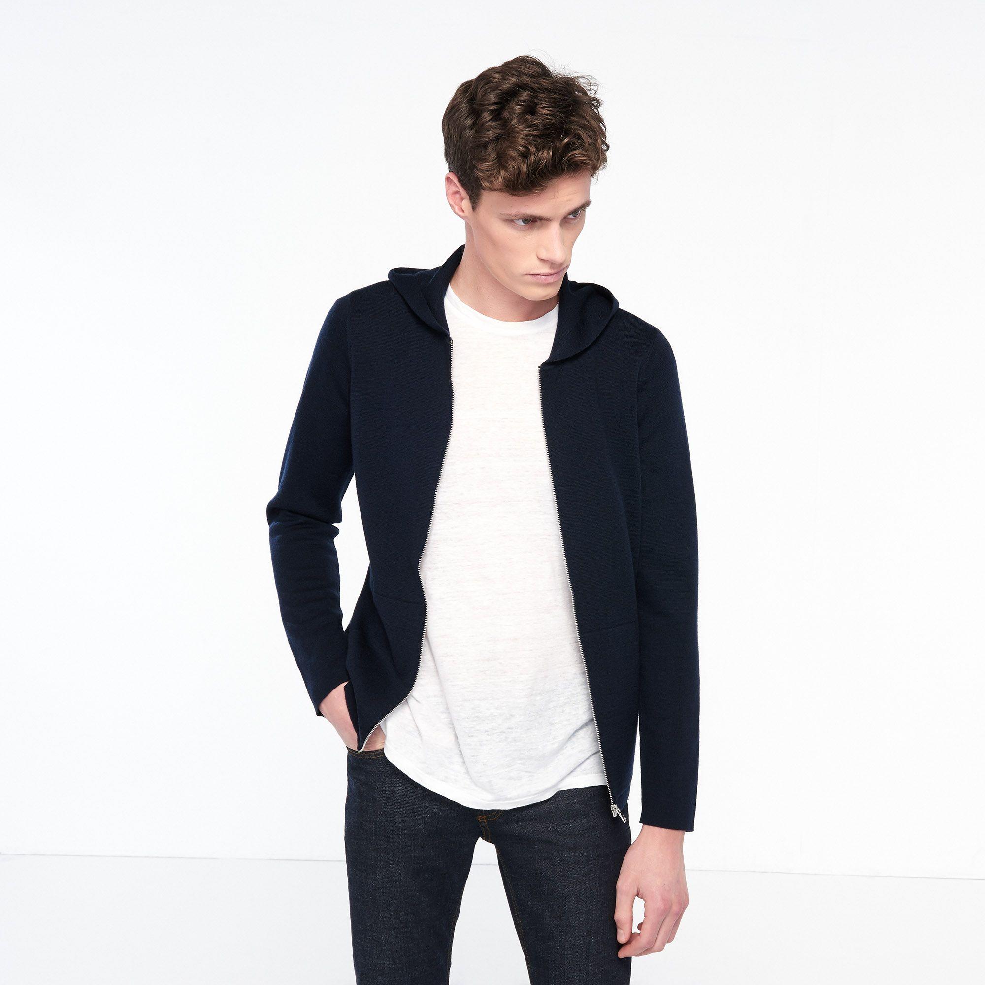 Merino Wool Hooded Cardigan - Sweaters & Cardigans - Sandro-paris ...