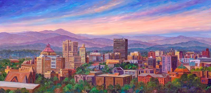 Asheville Nc North Carolina Skyline Painting Paintings Prints North Carolina Artists