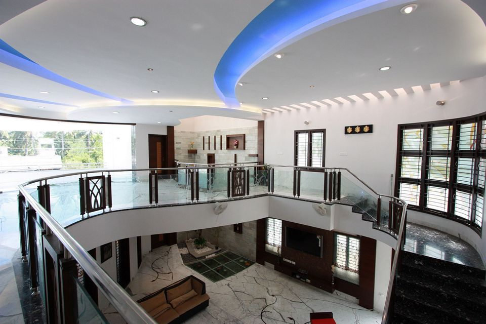 View of the false ceiling in the first floor with living area seen ...