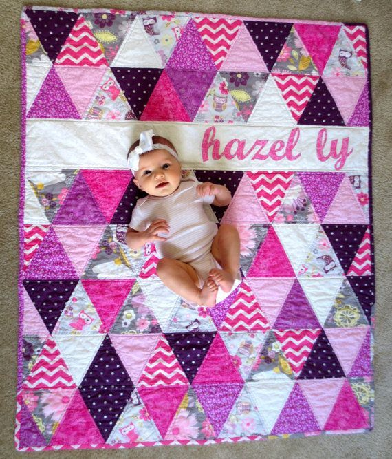 Order a custom triangle quilt like this with your baby's name ... : quilt shop names - Adamdwight.com