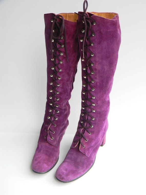 Reserved for LucyInDisguise - Awesome Vintage Suede PURPLE GO GO Lace Up Knee High Boots size 7 8. $80.00, via Etsy.