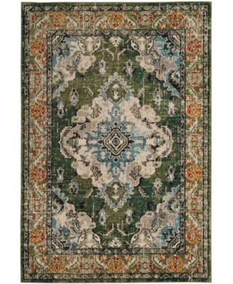 Safavieh Monaco Forest Green And Light Blue 10 X 14 Area Rug Bohemian Rug Light Blue Area Rug Blue Area Rugs