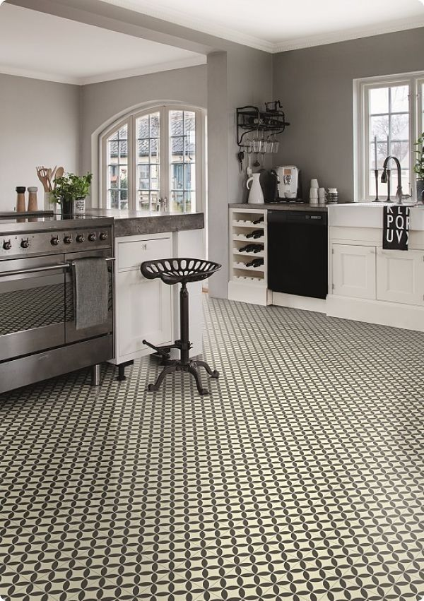 Kitchen with Victorian Ceramic Tile Effect Cushion Vinyl