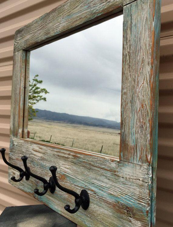 Barn Wood Mirror Rustic Home Decor: Barn Wood Mirror Barnwood Coat Rack Nautical By