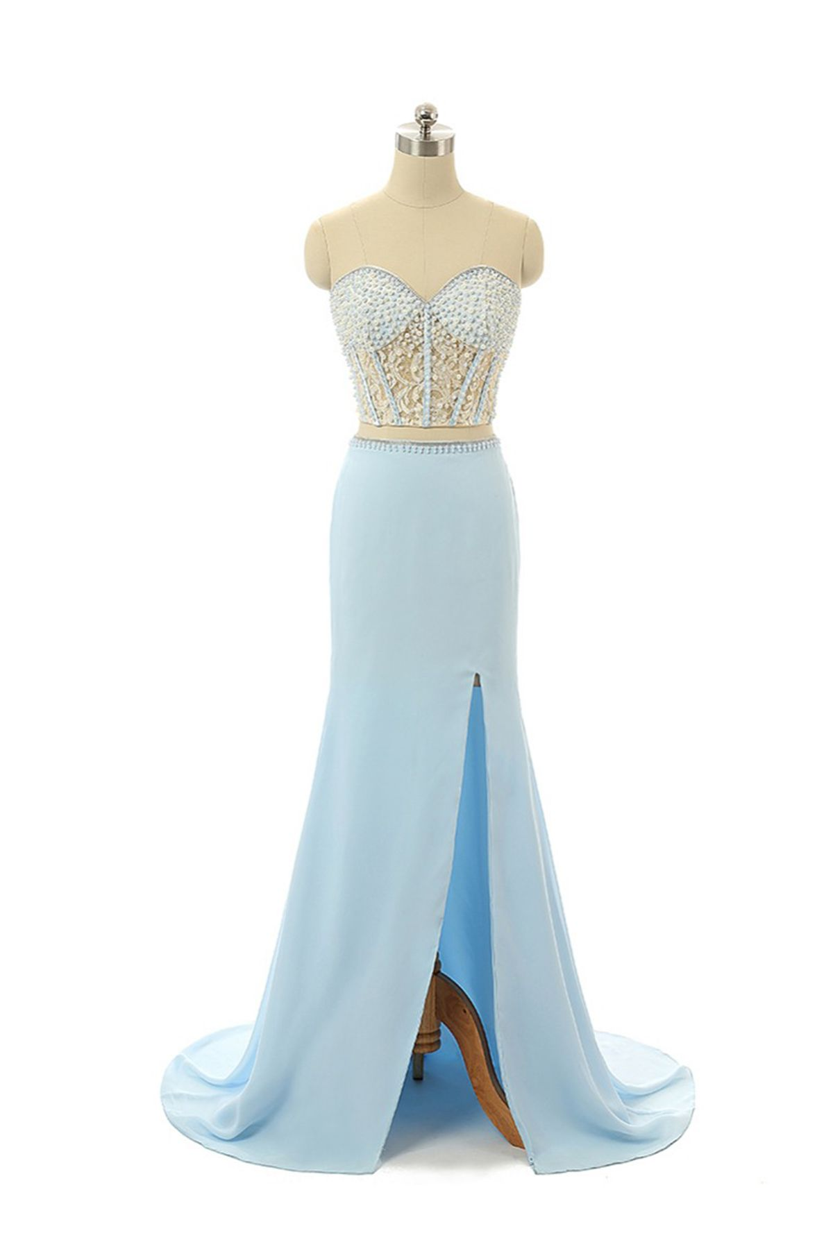 Beautiful ice blue chiffon prom dress with slit evening apparel