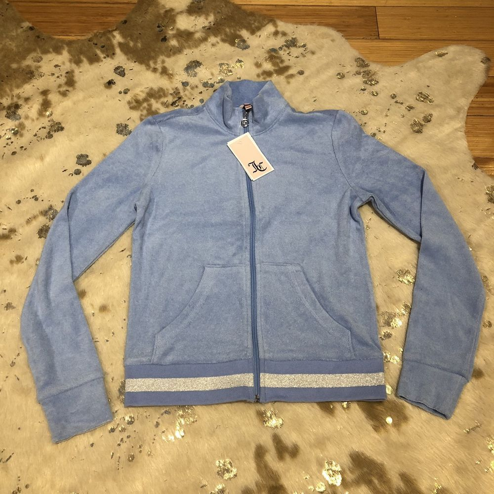 39493438869 Vintage Juicy Couture Terry Cloth Track Jacket in Blue Zip Up Jacket NEW Sz  XS