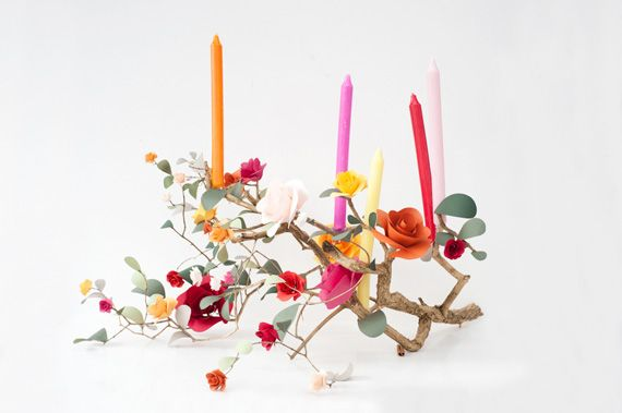 Rose Branch Candleabra   A Subtle Revelry  How stunning is this?! For so long I've been wondering what to put on my table. Flowers are a no-go when you have a cat who will drink anything but the water in her bowl! This is so bright and colourful andeasy to make! I don't think I would ever light the candles (I don't want to burn down my house!) but that doesn't matter - I would love it anyway!