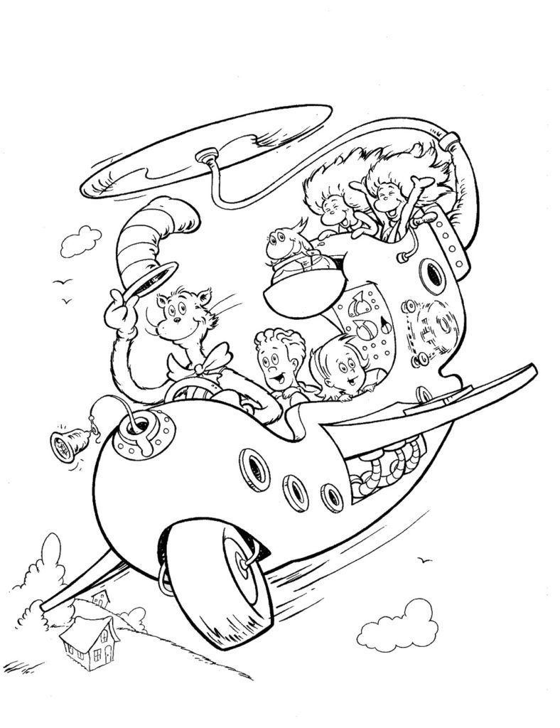 Cat in the Hat Coloring Pages Movies and TV Coloring