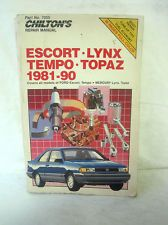 Chilton's Ford Escort Tempo Mercury Lynx Topaz Repair Manual 1981-90