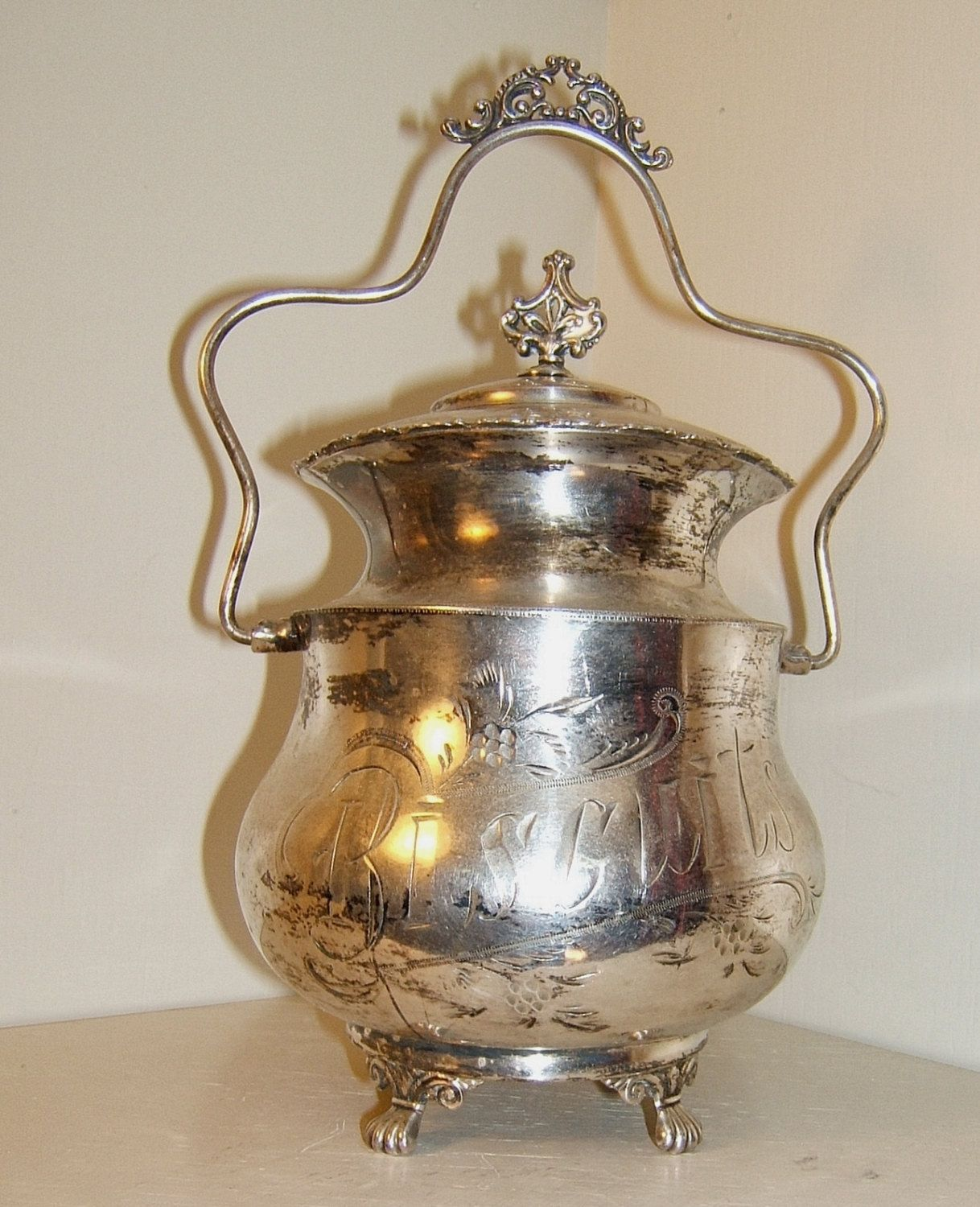 Antique Biscuit Jar Engraved Silver Plate by NOVASCOTIATREASURES $125.00 & Antique Biscuit Jar Engraved Silver Plate by NOVASCOTIATREASURES ...