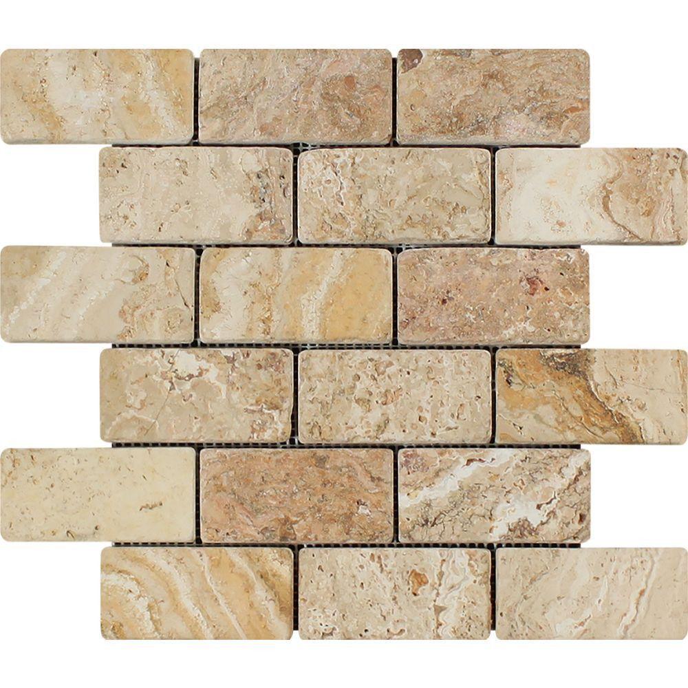 2 x 4 Tumbled Valencia Travertine Brick Mosaic Tile Sample