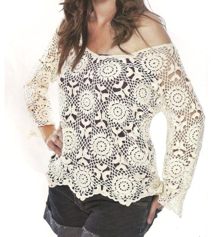 For this beautiful crochet blouse pattern free – See the step by ...