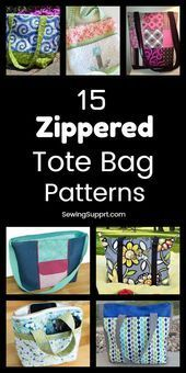15 Free Zipppered Tote Bag Patterns Tote Bag Patterns with Zippered tops. Fifteen free diy t...