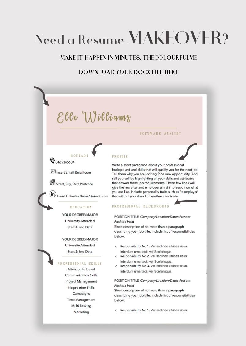 Minimalist Resume Template Cv Design Teacher Resume Etsy Teacher Resume Template Creative Resume Templates Resume Template Word