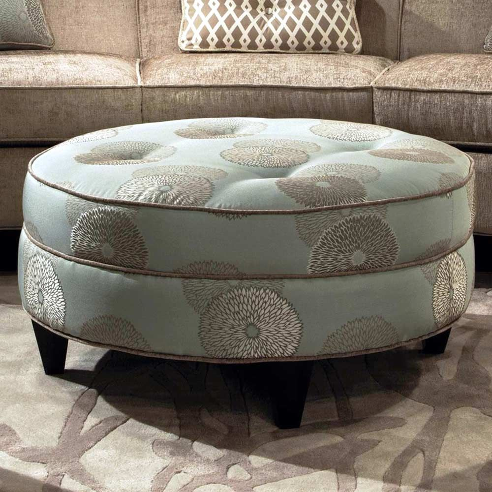 Esse Round Fabric Ottoman Tufting Beverly Drizzle In 2019