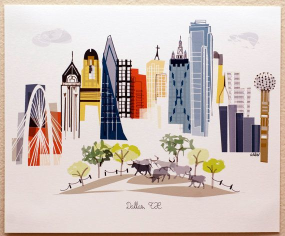 Dallas Tx By Albiedesigns On Etsy City Prints City Wall Art