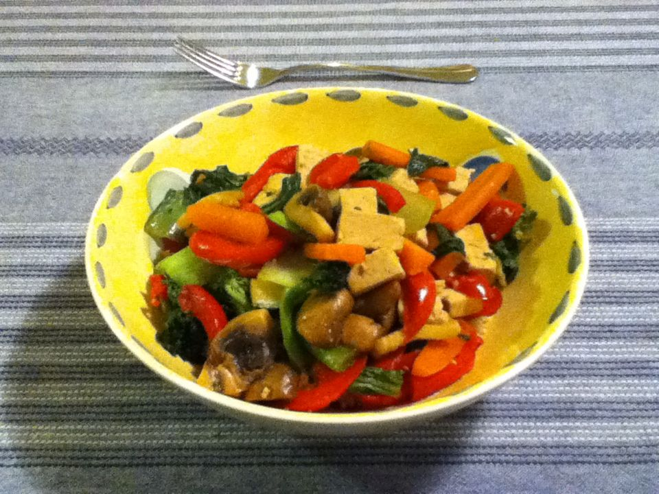 After tofu and vegetable stir fry on a bed of brown rice