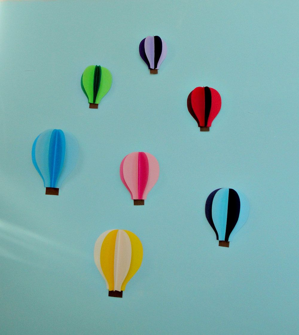 Hot Air Balloon 3D Paper Wall Art/Wall Decor | Paper wall art ...