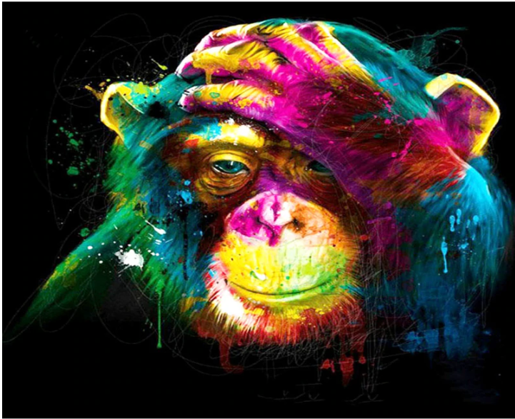 Abstract Colorful Monkey Painting Cross Paintings Monkey Art Colorful Paintings