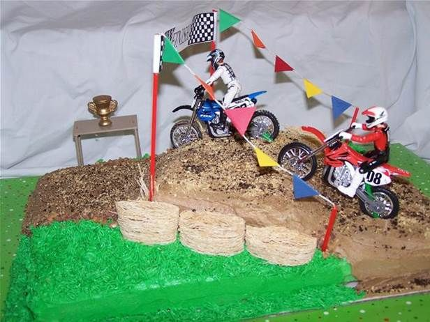 Stupendous Dirt Bike Cake Ideas Bing Images With Images Hockey Birthday Birthday Cards Printable Trancafe Filternl