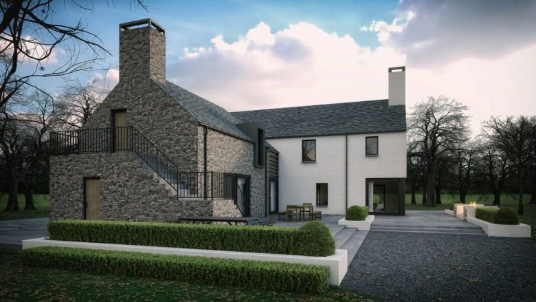 This Dwelling Took A Traditional Contemporary Style Of A Simple L Shaped Formation Based Around T Modern Bungalow House House Designs Ireland Irish House Plans