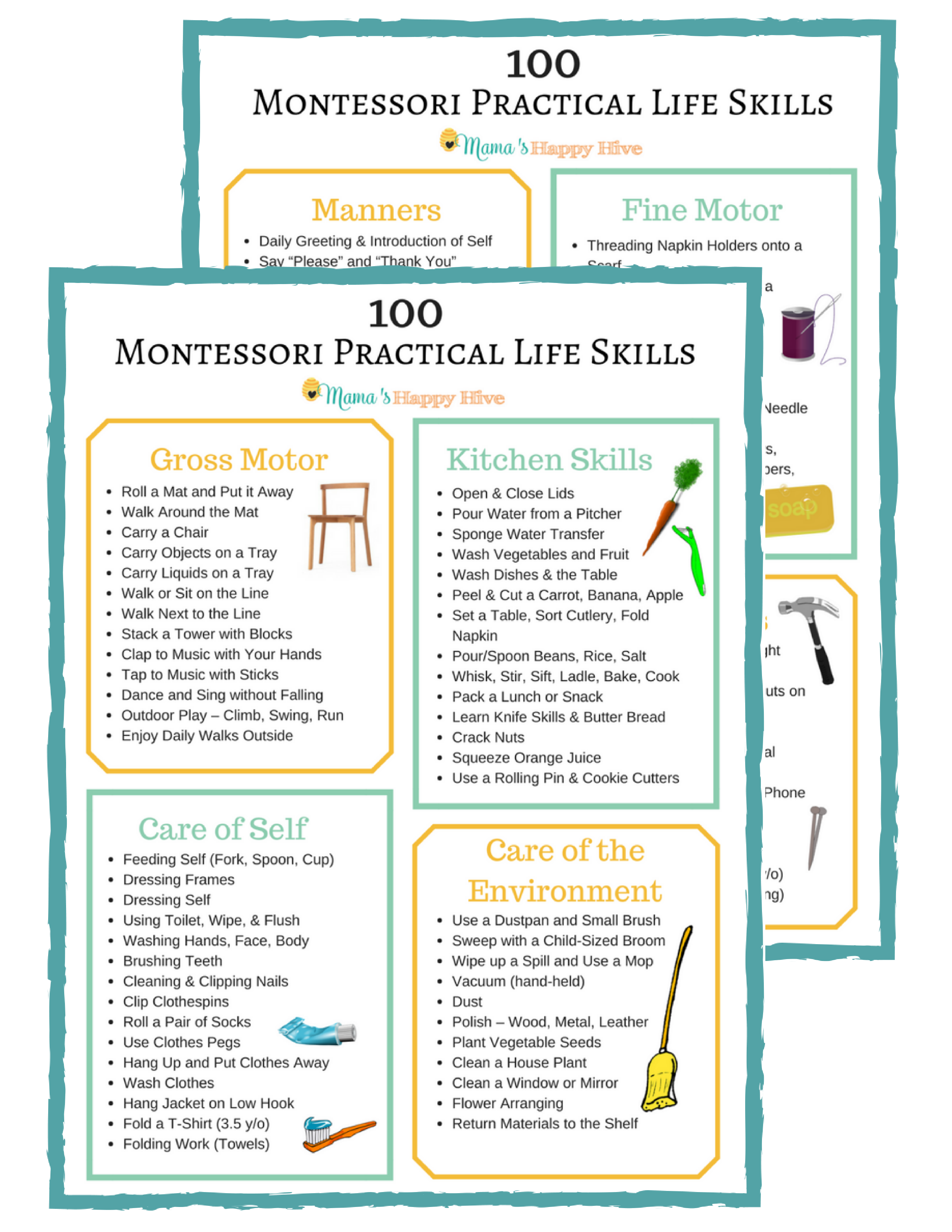 100 Montessori Practical Life Skills