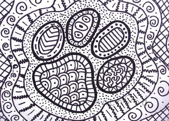 OOAK pawprint zentangle, ACEO dog paw drawing, cat paw ...