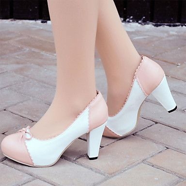 Womens Shoes Leatherette Chunky Heel Heels   Platform Heels Office   Career   Dress   Casual Blue   Pink   Beige