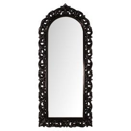 Glossy Black Wall Mirror With An Arched Top And Baroque Inspired Openwork Frame Product