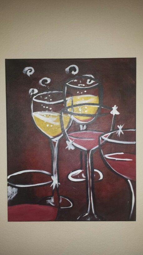 Wine glass acrylic paint canvas