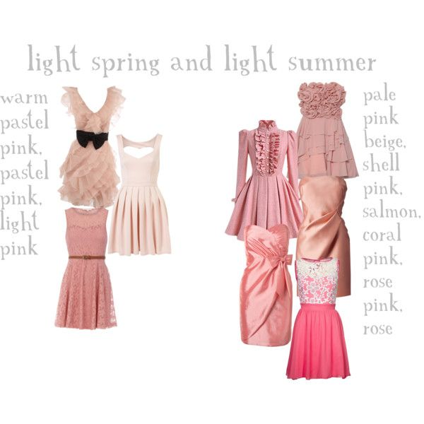 """""""light spring and light summer pinks"""" by expressingyourtruth on Polyvore"""
