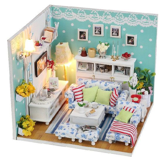 maison de poup e miniature bricolage kit la dream room. Black Bedroom Furniture Sets. Home Design Ideas
