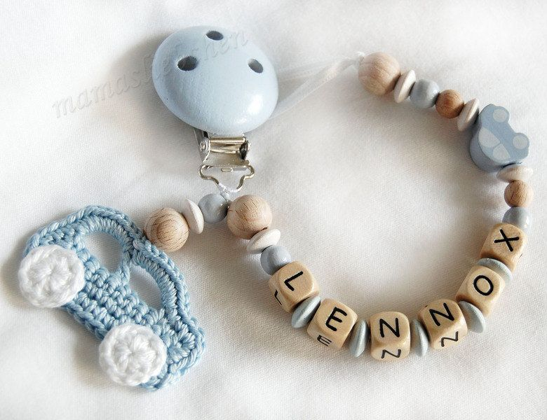 Any Name**Blue Personalised Dummy Clip//Chain for Boys//Car