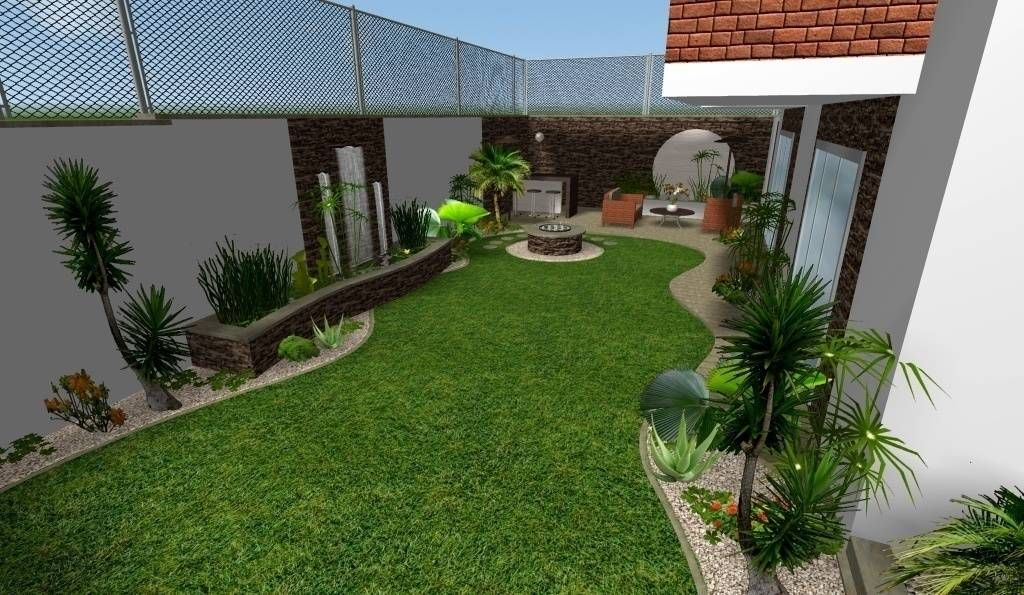 Dise o 3d vista general jardines de estilo moderno por for Como hacer un jardin sencillo y bonito