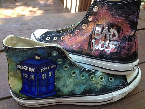Doctor Who Tardis Converse Shoes Hand Painted High Top Canvas Sneaker