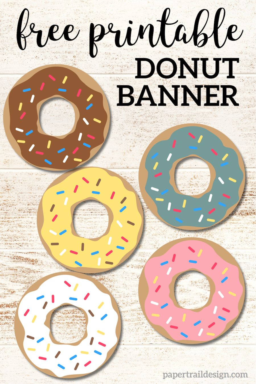 Free Printable Donut Banner Party Decor – Paper Trail Design