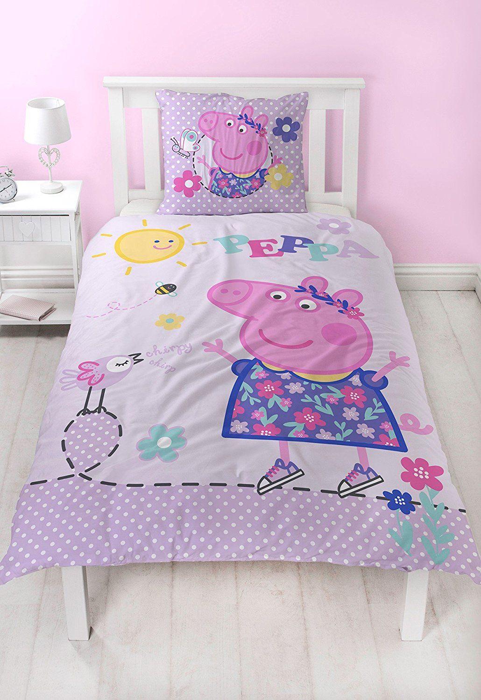 Peppa Pig FLANELL Mädchen Bettwäsche Wende Motiv Warm U0026 Kuschelig   2 Tlg.  Kissenbezug 80x80