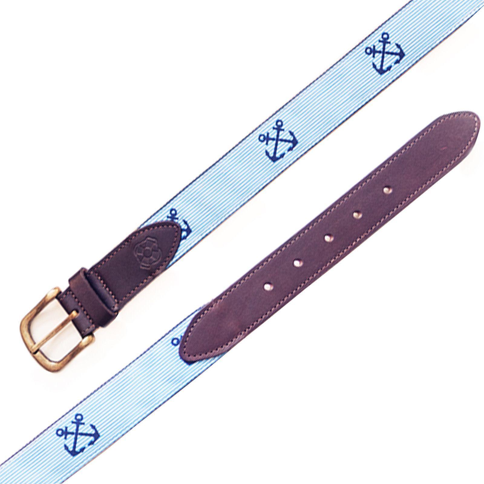 Bosun Belt Blue Seersucker With Crossed Anchor