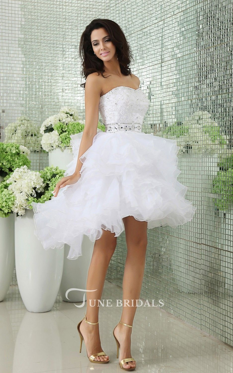 Fluffy wedding dresses  Strapless Short Layers Dress With Crystal Detailings And Ruffles