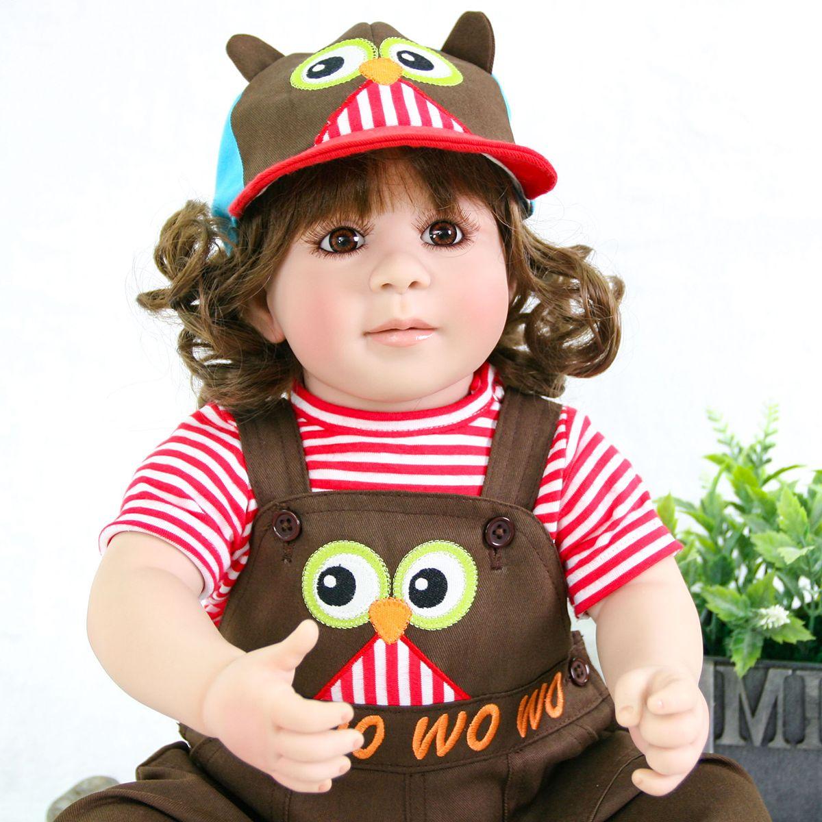 Reborn Toddler Baby Dolls 24/'/' Soft Vinyl Silicone Long Hair Doll Kids Xmas Gift