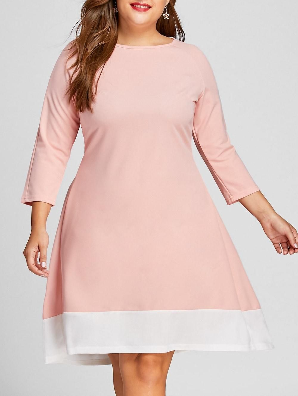 Bfcm Cybermonday Rosegal Rosewholesale Plus Size Contrast High Low Long Sleeve Dress Ado Long Sleeve High Low Dress Dresses Plus Size Fashion For Women [ 1330 x 1000 Pixel ]