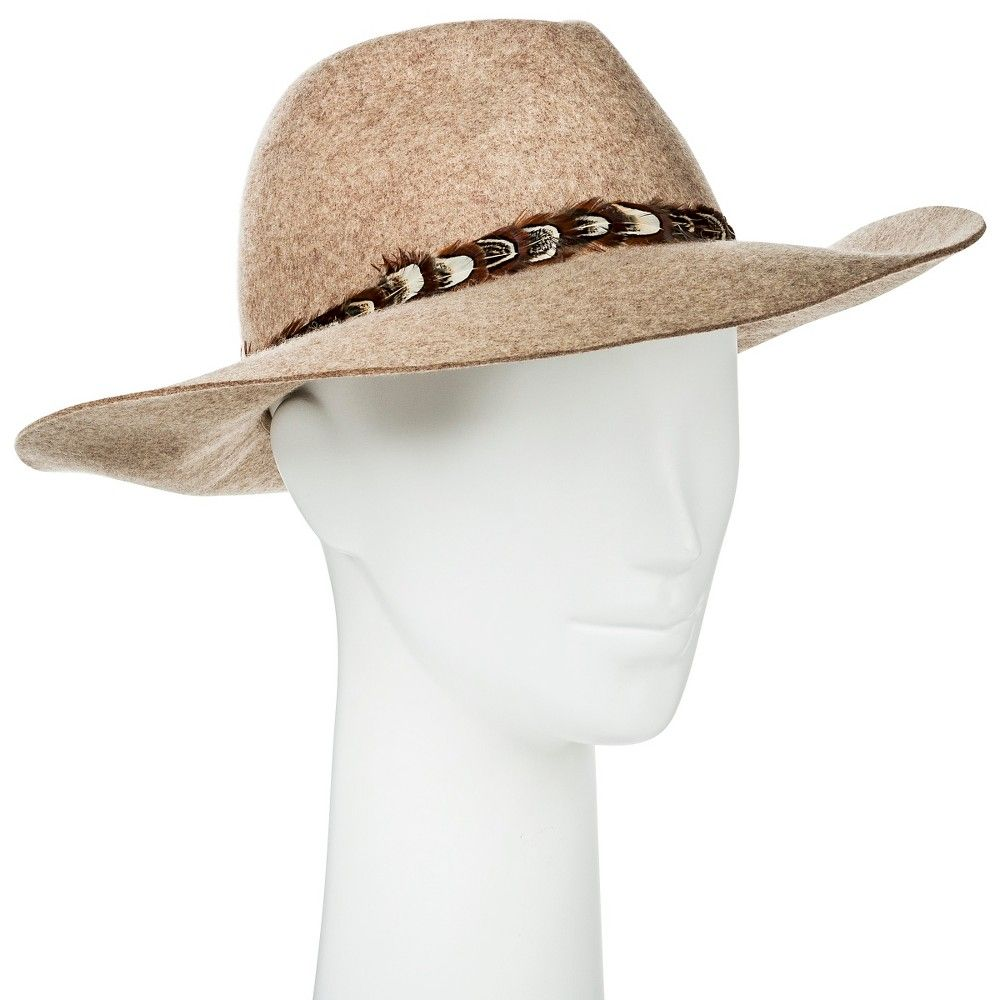 fee5cddce8b Women s Rancher Hat Brown with Feathers - Merona Panama Hat