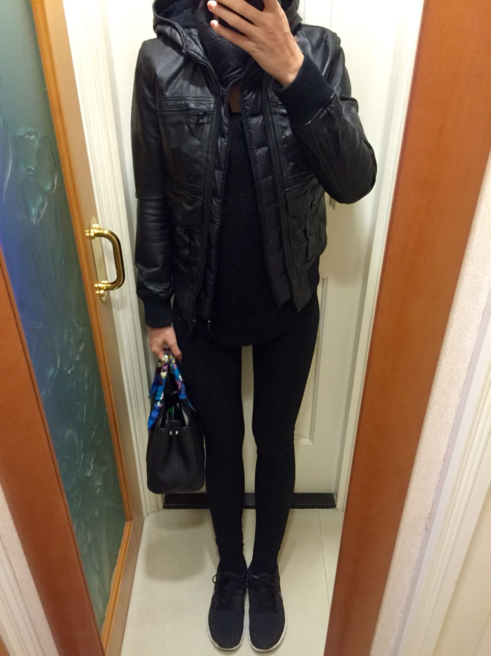 Leather jacket uniqlo - Hysteric Glamour Leather Jacket Uniqlo Down Vest H M Knitted Tunic Juicy Couture Leggings