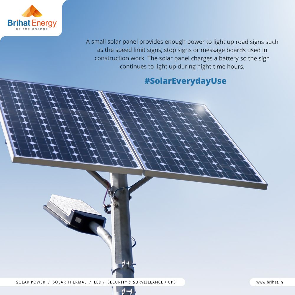 A Small Solar Panel Provides Enough Power To Light Up Road Signs Such As The Speed Limit Signs Stop Signs Or Message Solar Energy For Home Solar Panels Solar