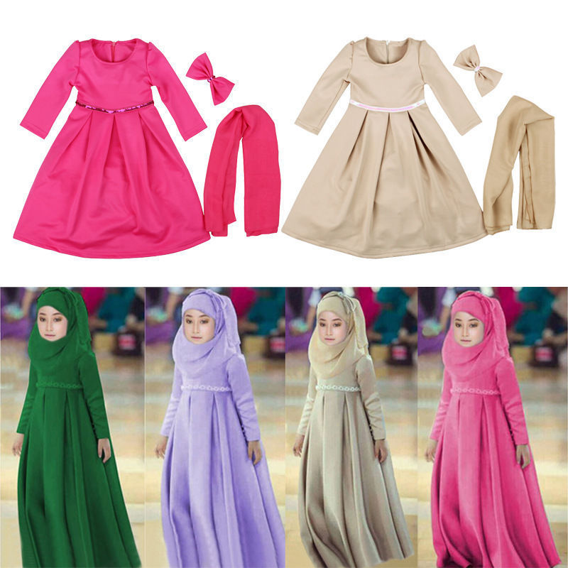 Kids Long dress Muslim Hijab Islamic Abaya Kaftan+Bown Arab maxi dress For 3pcs
